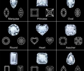 Diamond shapes with outlines vector set 05
