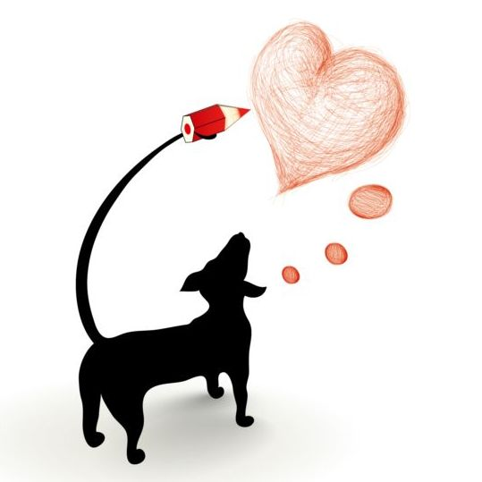 Dog silhouetter and heart vector