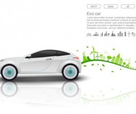 Eco with car background vector 03