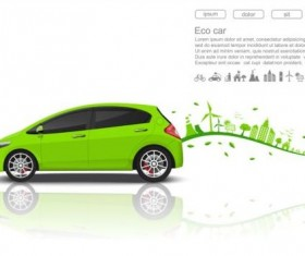 Eco with car background vector 04