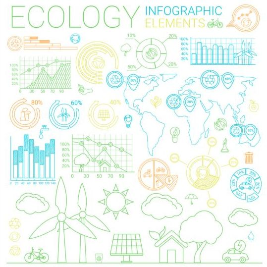 Ecology infographic elements vectors material 02