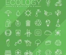 Ecology lines icons set 01