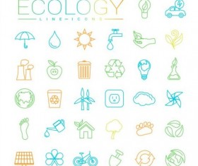 Ecology lines icons set 02