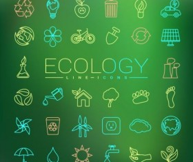 Ecology lines icons set 03