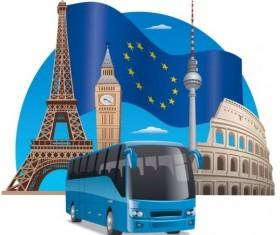 European bus tour vector