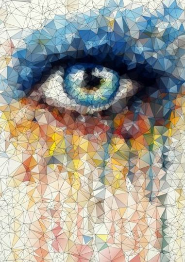 Eye with geometric shapes background vector 01