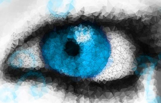 Eye with geometric shapes background vector 07