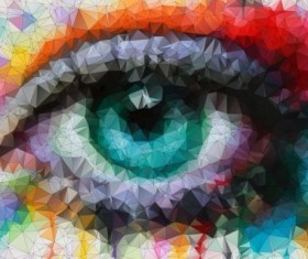 Eye with geometric shapes background vector 08