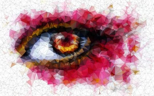 Eye with geometric shapes background vector 09