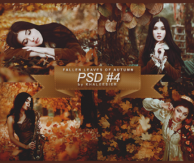 Fallen Leaves of Autumn with beautiful girl psd