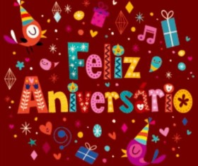 Feliz Aniversario Portuguese Happy Birthday greeting card vector