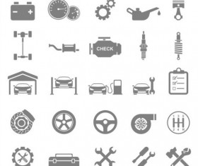 Flat gray car icons vector