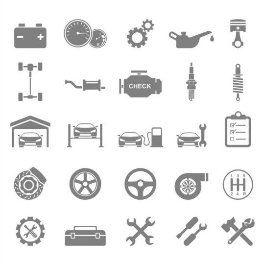 Flat gray car icons vector