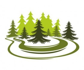 Forest trees logo vectors 01