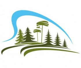 Forest trees logo vectors 02
