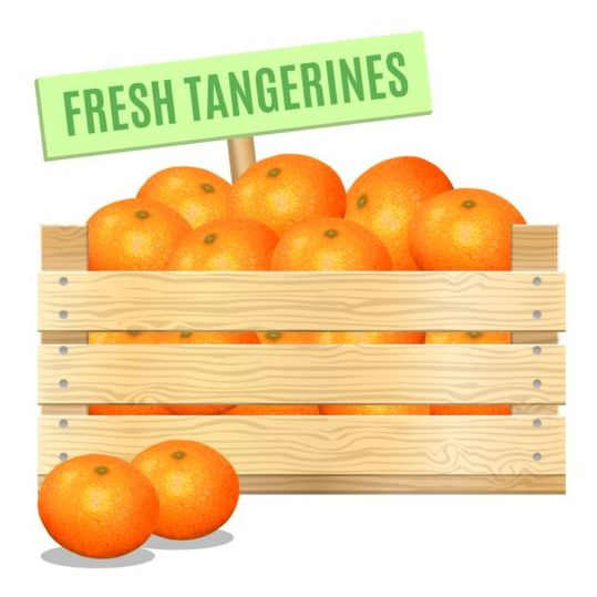 Fresh tangerines poster vector - Vector Food free download: freedesignfile.com/248769-fresh-tangerines-poster-vector