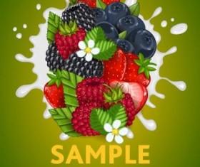 Fruit composition milk poster design vector 01