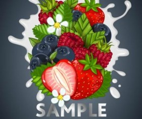 Fruit composition milk poster design vector 02