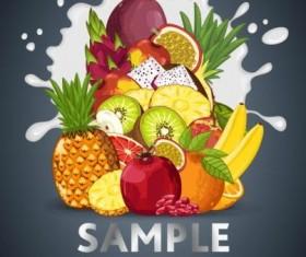 Fruit composition milk poster design vector 03