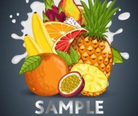 Fruit composition milk poster design vector 04