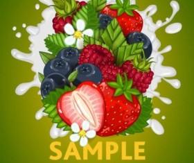 Fruit composition milk poster design vector 05