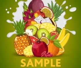Fruit composition milk poster design vector 06