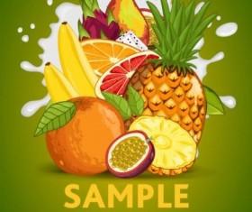 Fruit composition milk poster design vector 07