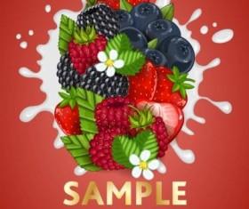Fruit composition milk poster design vector 08