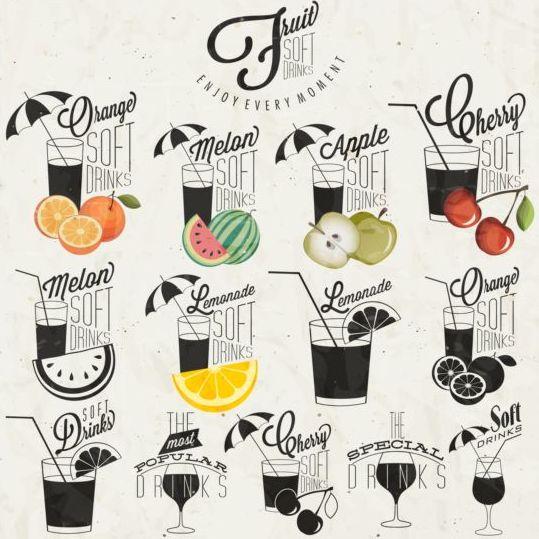 Fruit drank logos design set
