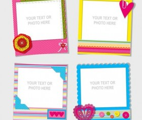 Funny photo frame vectors set 04