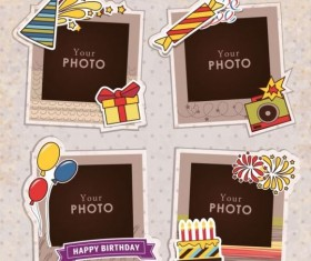 Funny photo frame vectors set 07