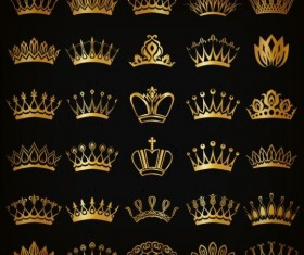 Gold crown ornament set vector