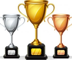 Gold silver copper award cup vector 01