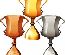 Gold silver copper award cup vector 03