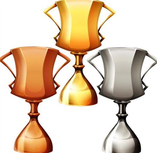 Gold silver copper award cup vector 03