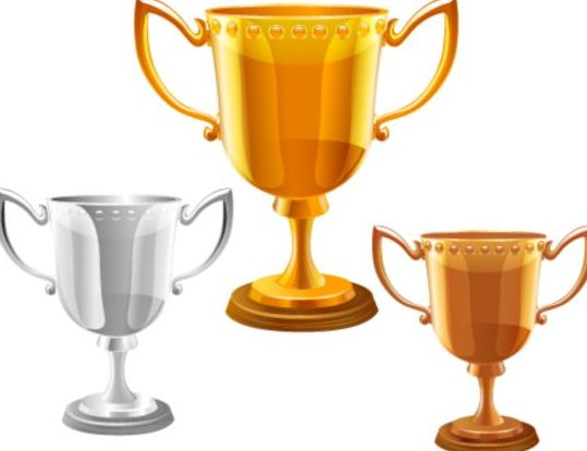 Gold silver copper award cup vector 04