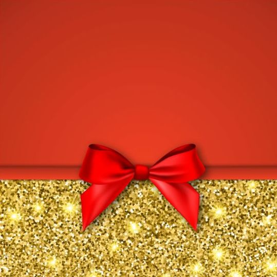 Gold with red background and bow vector 02