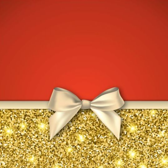Gold with red background and bow vector 03