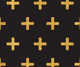 Golden cross seamless pattern vector 01