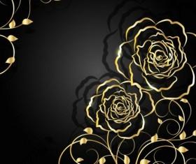 Golden flower with black background vector 01