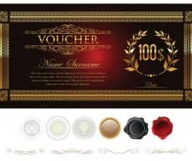 Golden gift certificate lixury vector 01