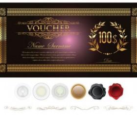 Golden gift certificate lixury vector 02