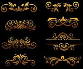 Golden luxury ornaments vectors graphic 01