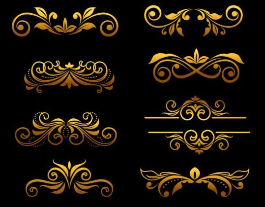 Golden Luxury Ornaments Vectors Graphic 01 Free Download