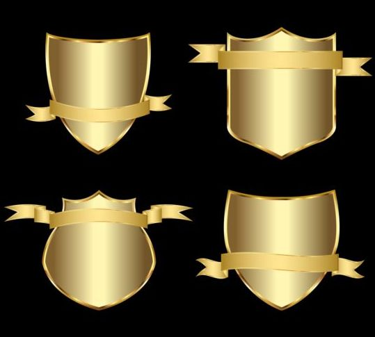 Golden shield with ribbon vector 01