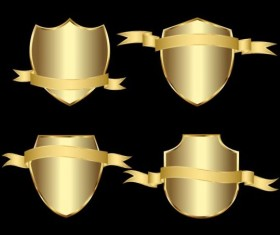 Golden shield with ribbon vector 02