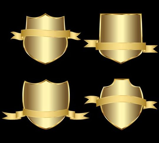 Golden shield with ribbon vector 03