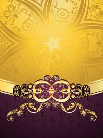 golden with purple decorative background vector 04 free