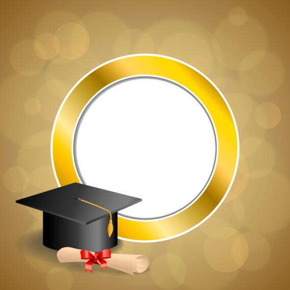 Graduation Cap With Diploma And Golden Abstract Background ...