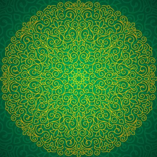 Green floral pattern ornate vectors